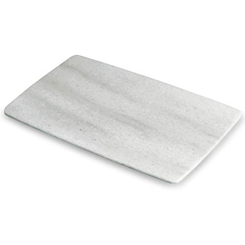 MAYROOM Natural Marble Stone Cheese Cutting Boards Slate Pastry Cake Stands Platters Slicers Serving and Cheese Tray Board Kitchen Parties White For Home(11.8x3 inch, Cloud White)