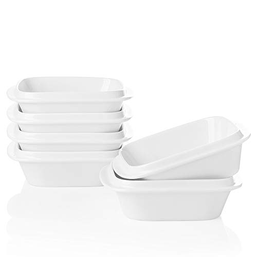 SWEEJAR Porcelain 10oz Square Ramekins with Handle for Baking, Souffle Dishes, Sauce Dishes, Dipping Bowls Stacked for Kitchen Cabinet Set of 6(White)