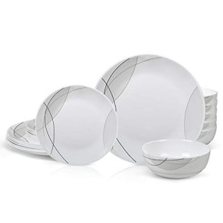 DANMERS 18-Piece Kitchen Dinnerware Set,Plates,Bowls,Break and Chip Resistant,Dish Sets Service for 6,Simple Lines