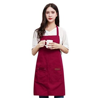 Celiy Canvas Pockets Apron Butcher Crafts Baking Chefs Kitchen Cooking BBQ Plain