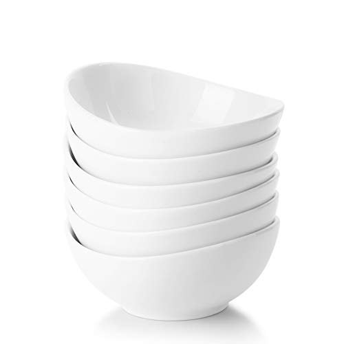 Sweese 123.001 Porcelain Mini Bowls - 4 Ounce for Dipping Sauces, Small Side Dishes - Set of 6, White