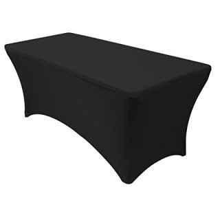 Your Chair Covers - 6 ft Rectangular Fitted Spandex Tablecloths Patio Table Cover Stretchable Tablecloth - Black