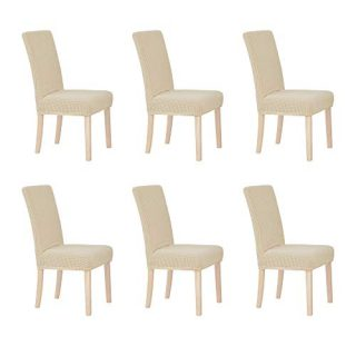 Deconovo Luxury Soft Stretchy Chair Covers Short Dining Wrinkle Resistant Chair Protector for Kitchen Set of 6, Beige