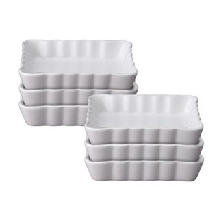 HIC Kitchen Square Creme Brulee Set, Fine White Porcelain, 4.875-Inch, Set of 6
