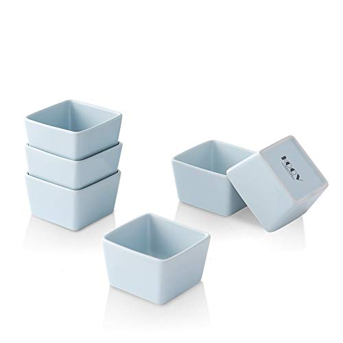 KOOV Porcelain Ramekins Set, 4 Ounce Ramekins for Baking and Cooking, Creme Brulee Dishes, Square Series Set of 6 (Sky)