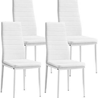 aHUMANs Modern Dining Chairs PU Leather Kitchen Chairs with Metal Legs Upholstered Padded Dining Chairs (White Set of 4)