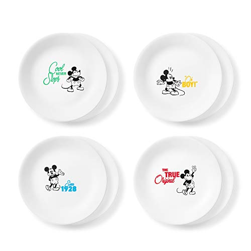"Corelle Disney Mickey Mouse-The True Original 8.5"" Salad Lunch Plates, 8 Pack (Disney Mickey Mouse - The True Original)"