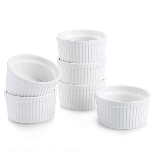 Teocera Porcelain Ramekins, Souffle Dishes - 8 oz for Souffle, Creme Brulee and Pudding - Set of 6, White