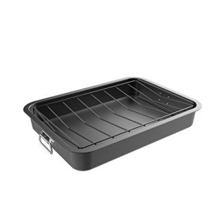 Classic Cuisine Roasting Pan with Angled Rack-Nonstick Oven Roaster and Removable Tray-Drain Fat and Grease for Healthier Cooking-Kitchen Cookware