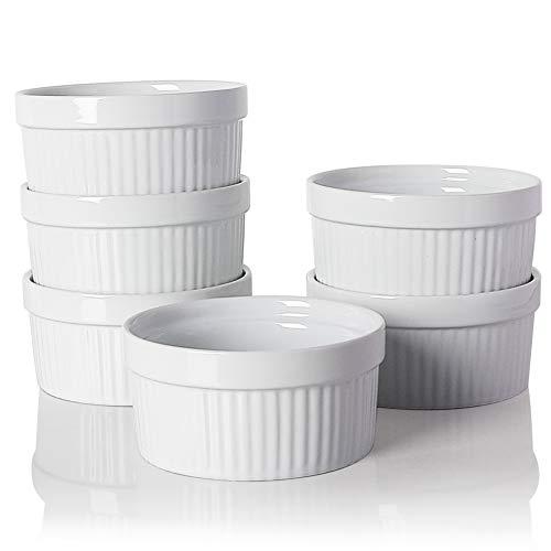 SWEEJAR Ceramics Souffle Dishes,Ramekins,8 oz for Baking, Pudding, Creme Brulee, Souffle - Set of 6