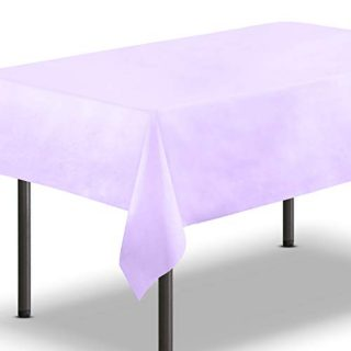 [10 Pack] Lavender Plastic Tablecloth 54 x 108 Inch - Rectangle Table Cloth, Reusable Cover / Disposable Tablecloths, Party Decoration, Birthday Supplies, Outdoor Picnic Camping, Baby Shower, Wedding
