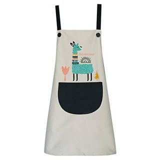 Bolley Joss Cute Animal Alpaca Kitchen Apron Waterproof Durable Bib Apron with Pocket for Women Girls Washing Dishes