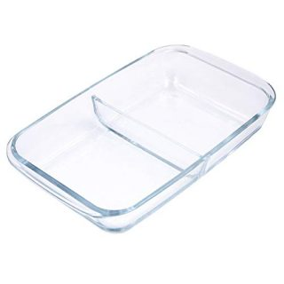Glad Clear Glass Oblong Baking Dish | 1.6-Quart Nonstick Rectangular Bakeware Casserole Pan | Freezer-to-Oven and Dishwasher Safe, 2 Compartment