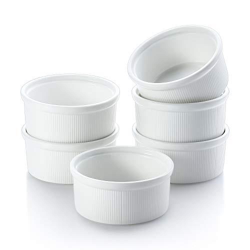 CONNYAM 8 OZ Ramekin Bowls Oven Safe, 6PCS Top Bone China Ramekins Cooking Bakeware Set for Souffle Dish, Creme Brulee, Custard, Pudding Cups (White)