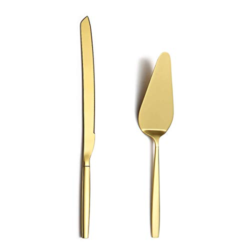 Berglander Gold Cake Pie Pastry Servers, Cake Serving Set,Cake Knife and Server Set Perfect For Wedding, Birthday, Parties and Events