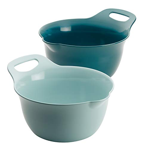 Rachael Ray Tools and Gadgets Nesting / Stackable Mixing Bowl Set with Pour Spouts and Handle - 4 and 5 Quarts, Light Blue and Teal