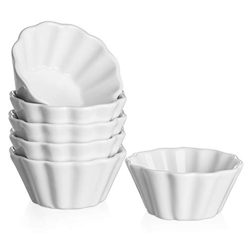DOWAN Porcelain 6 Oz Ramekins - Oven Safe Ramekins for Baking Creme Brulee, Flower-Shaped Souffle Custard Cups, Microwave Safe and Dishwasher Safe, Set of 6, White