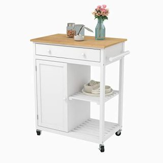 Mecor Kitchen Rolling Island Cart w/Wood Top, Utility Trolley on Wheels with Storage Drawer, Shelves and Cabinet, White