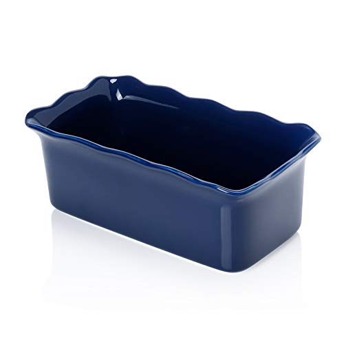 Sweese 519.103 Porcelain loaf pan for Baking, Non-Stick Bread Pan Cake Pan, Perfect for Bread and Meat, 9 x 5 inches, Navy