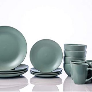16-Piece Dinnerware Set, Kitchen Bowl and plate, Mugs, Service for 4(Green)