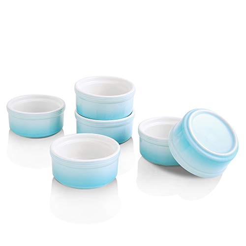KOOV Ceramic Souffle Dishes, Ramekins for Baking and Cooking, 4 Ounce for Creme Brulee and Ice Cream, Gradient Series, Set of 6 (Sky)