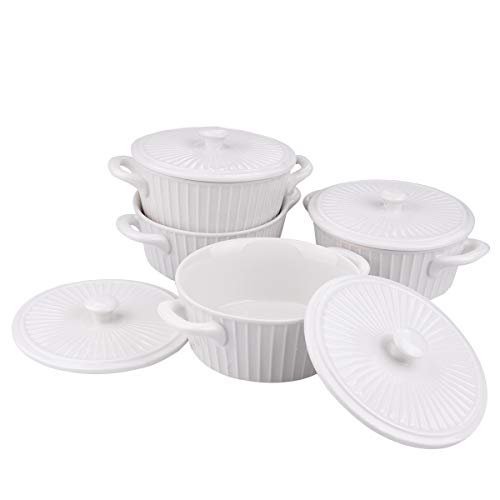 SCENAY 9.4 oz Porcelain Ramekins, Set of 4 Mini Casserole with Lid and Handle, Soufflé Dishes, Casserole Dish, French Onion Soup, Desserts, Snack (White)