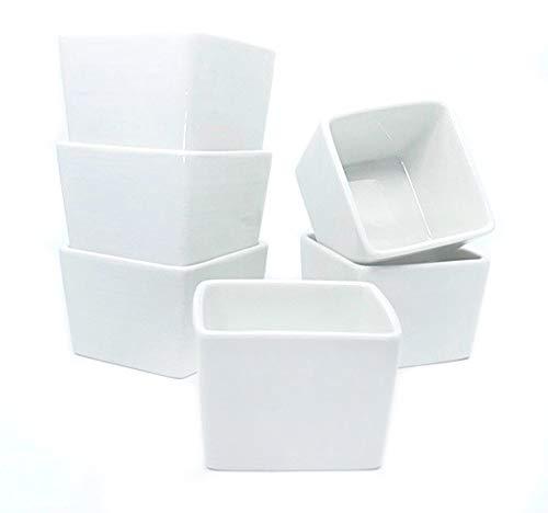 M. Gastro Kitchens - 6 Piece Set - 6 Ounce Square Ramekins, Creme Brulee, Souffle, Custards (6 oz Square, White)