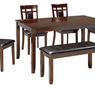 Signature Design by Ashley Bennox Dining Room Table and Chairs with Bench (Set of 6)