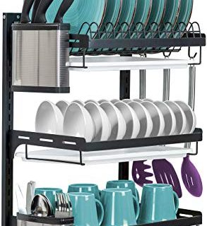 Sorbus Dish Drying Rack, 3-Tier Hanging Wall Mount Drying Organizer Storage Shelf Drainer for Dishes, Bowls, Utensils, Mugs, Includes Drain Trays and 3 Hooks for Kitchen Sink, Metal (Black)