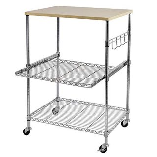 Fuara 3-Tier Wire Rolling Kitchen Cart, Food Service Cart, Microwave Stand, Oak Cutting Board and Chrome