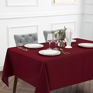 Lotmat Geometric Chevrons Tablecloth Waterproof, Rectangle Table Cloth Polyester Wrinkle-Free Anti-Fading Heavyweight Tablecloths Washable Table Cover for Kitchen Dinning Party Oblong, 52x70, Red