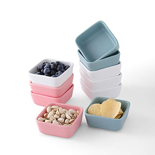 Set of 10, Porcelain 3.5 in 6 oz Multicolor Square Ramekins Bowl Souffle Dish for Pudding, Baking, Creme Brulee, Snack, Ice Cream, Bakeware Cups, Oven Safe Sauce Dipping Bowls for Baking and Cooking