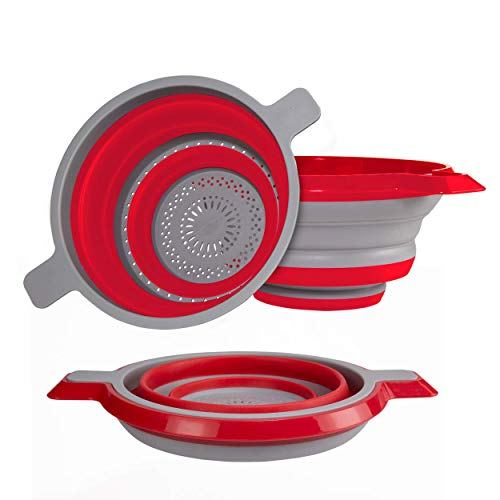 Kitchen Maestro Collapsible Colander and Strainer, Set of 2 Red Collanders for Pasta, Fruits, Vegetables and More - BPA Free and Dishwasher Safe