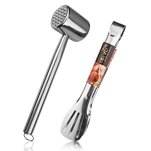 Meat Tenderizer Mallet Tool for Kitchen & BBQ, 304 Stainless Steel Meat Pounder Hammer Mallet for Tenderizing Steak, Chicken, Pork with Kitchen Tongs