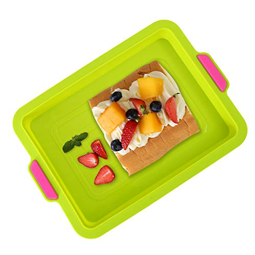 KeepingcooX Non Stick Silicone Brownie Baking Pan With Handles - Rectangular Large Cookie Baking Sheet/Jelly Roll Pan Set Nonstick, Double Colors, Dishwasher Available