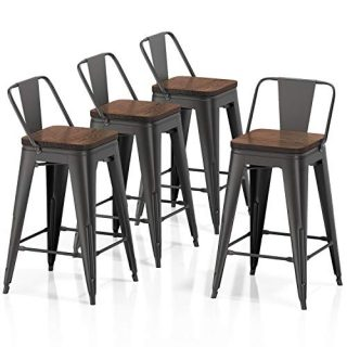 """VIPEK 24"""" Metal Counter Height Bar Stools with Backrest Set of 4 Low Back with Wooden Seat 24 Inch Seat Height Barstool for Home Kitchen Dining Bar Chairs Patio Bar Stool, Matte Black"""