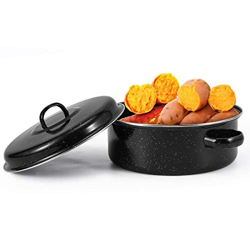 """Round Enamel Roasting Pot with Rack and Self Basting Lid, 9""""/10""""/11"""" Non-Stick Grill Baking Kitchen Cooking Tool Bottom Leak Design, Can Be Used On Open Fire (24cm / 9"""")"""