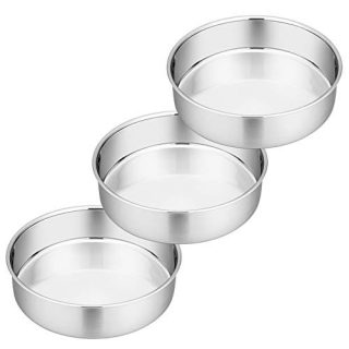 8 Inch Cake Pan Set of 3, P&P CHEF Stainless Steel Round Baking Pans LayerCakePans Tin Set, Fit Oven / Pots / Pressure Cooker, Non Toxic & Heavy Duty, Dishwasher Safe