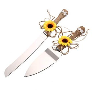 TANG SONG Rustic Wedding Cake Knife and Serving Set with Sunflower Burlap Lace Wedding Cake Knife (Set of 2)