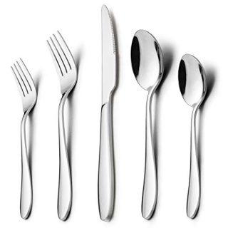 40-Piece Modern Silverware Set, HaWare Stainless Steel Flatware Cutlery Set, Elegant Kitchen Utensils Service for 8, Includes Dinner Knives/Spoons/Forks, Mirror Polished, Dishwasher Safe