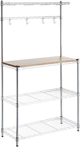 "AmazonBasics Kitchen Storage Baker's Rack with Wood Table, Chrome/Wood - 63.4"" Height"