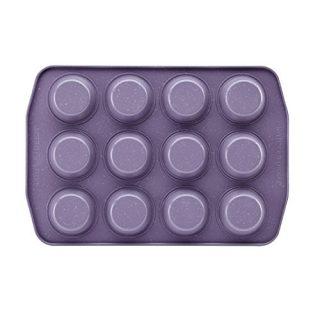 Paula Deen Speckle Nonstick Bakeware, Nonstick Muffin Pan / Cupcake Pan - 12 Cup, Lavender Speckle Purple