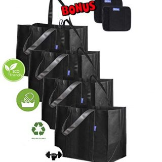 Reusable Shopping Bags Reinforced Bottom – Set of 6pcs (Black) – 4 Washable Large Reusable Bags for Shopping (Hold 55 lbs) + 2 Neoprene Bag Handle Wraps, Grocery Tote Bags with Reinforced Handle