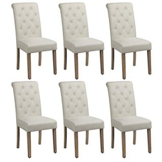 Yaheetech Solid Wood Dining Chairs Button Tufted Parsons Diner Chair Upholstered Fabric Dining Room Chairs Kitchen Chairs Set of 6, Beige