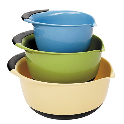OXO Good Grips 3-piece Mixing Set, White Bowls Brown Handles, Blue/Green/Yellow