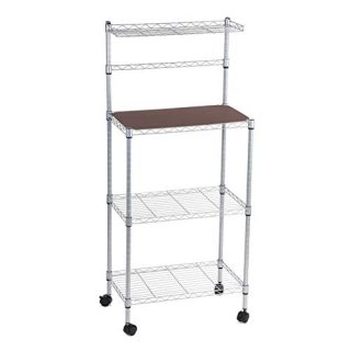 4 Tier Kitchen Baker's Rack,Kitchen Shelving Storage Rack Decker Microwave Oven Storage Cart Workstation Shelf Organizer Pantry Standing Rack Shelf Holder with Detachable Wheels