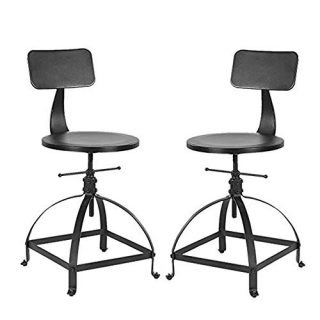 BOKKOLIK Industrial Bar Stools-Set of 2-Counter Height Adjustable 19-26inch-Kitchen Island Stool-Guest Chair with Backrest
