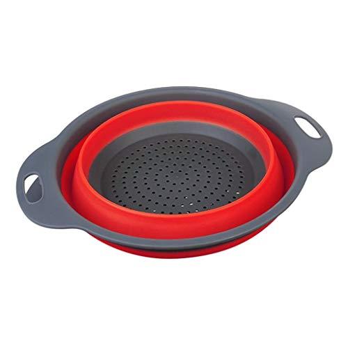 Fine Foldable Silicone Colander, Fruit Vegetable Washing Basket Strainer Collapsible Drainer for Kitchen Space Saving Storage Design Kitchen Strainer (Red, S)