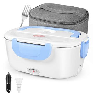 Electric Lunch Box, Car Portable Food Heating Bento Box, 12V/110V Dual Voltage Stainless Electric Lunch Box, Blue (0.6L, 40W)