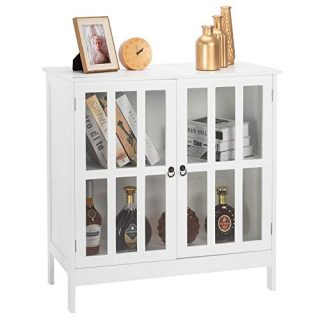 Bonnlo Storage Sideboard Buffet Cabinet White Kitchen Sideboard Dining Buffet Cabinet for Multifunction in Kitchen, Hallway, Living Room